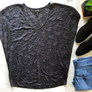 BCBGMaxAzria Black And Grey Lace Print Dolman Top